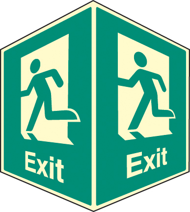 58007 Exit - projecting sign photoluminescent  (150x200mm) Safety Sign