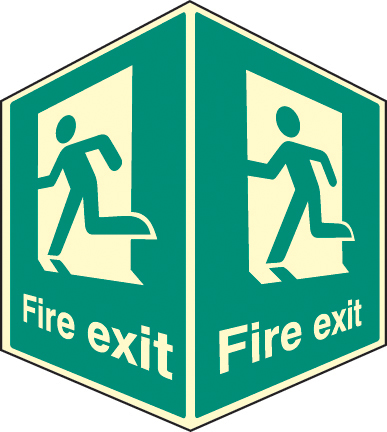 58008 Fire exit - projecting sign photoluminescent  (150x200mm) Safety Sign