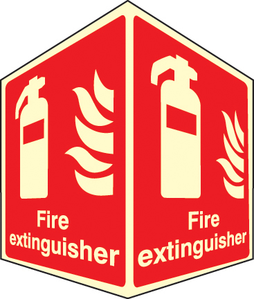 58011 Fire extinguisher - projecting sign photoluminescent  (150x200mm) Safety Sign