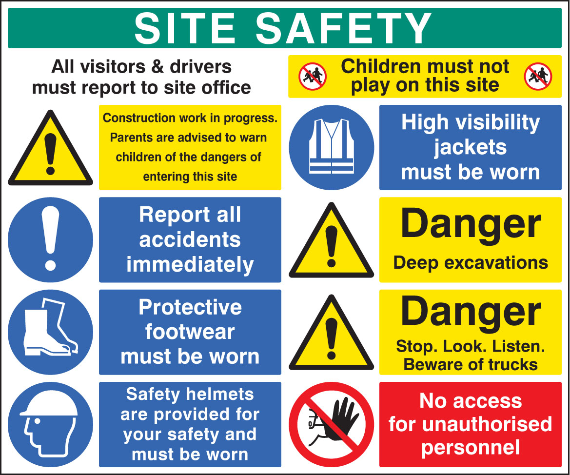 58038 Site Safety Board 1200x1000mm 1200x1000mm Safety Sign