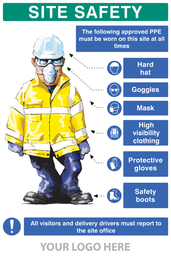 58052 Ppe Requirement Sign Hat Goggles Mask Hivis Gloves