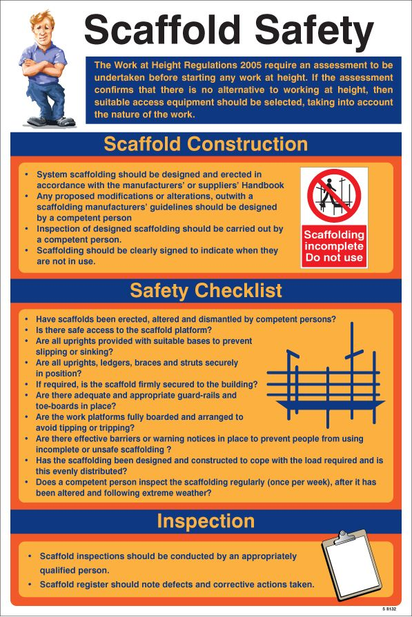 58132 Scaffold Safety Poster 400x600mm Safety Sign