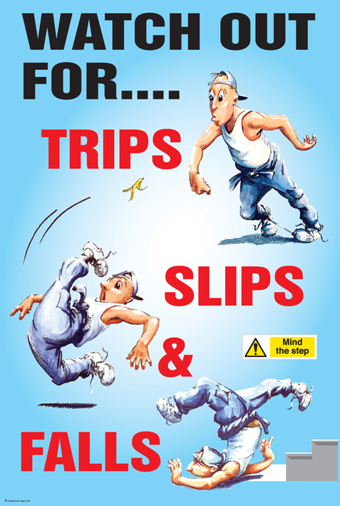 58182 Trips Slips And Falls Poster 510x760mm Synthetic
