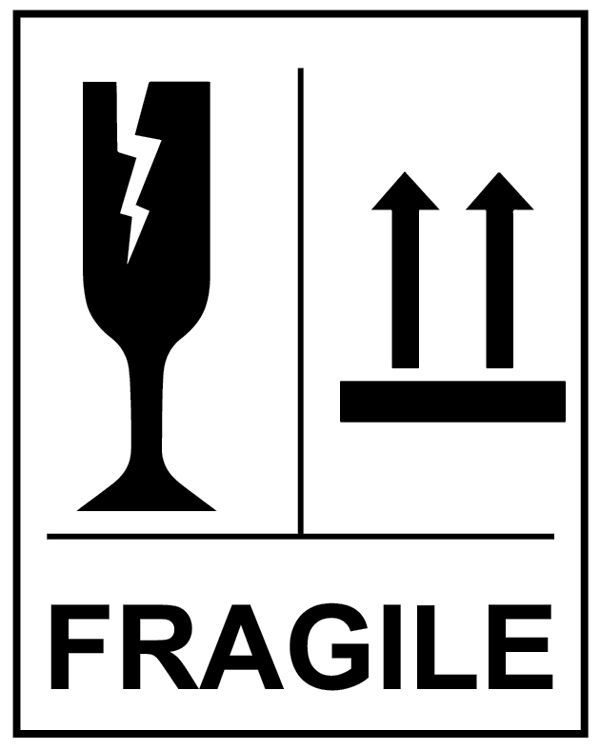 58196 Fragile Glass This Way Up Self Adhesive Labels