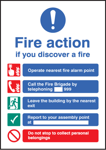 58319 Fire action - A5 sav  (148x210mm) Safety Sign