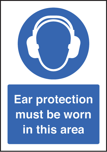 58399 Ear protection must be worn - A5 sav  (148x210mm) Safety Sign