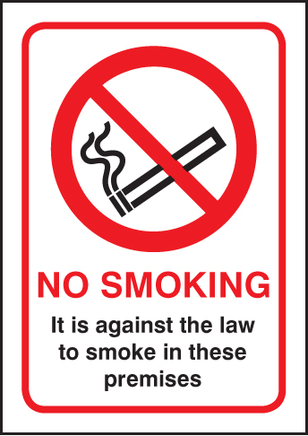 58420 No smoking - A5 Rigid Plastic (148x210mm) Safety Sign