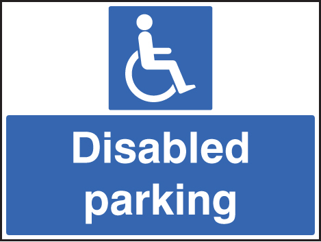 58527 Disabled parking only c/w frame 600x450mm  (600x450mm) Safety Sign
