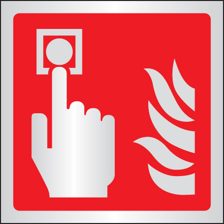 59105 Call point symbol 175x175mm aluminium  (175x175mm) Safety Sign