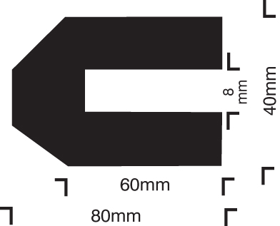 59230 Impact protection trapeze 40/80/8 push on  (40x80x1000mm) Safety Sign