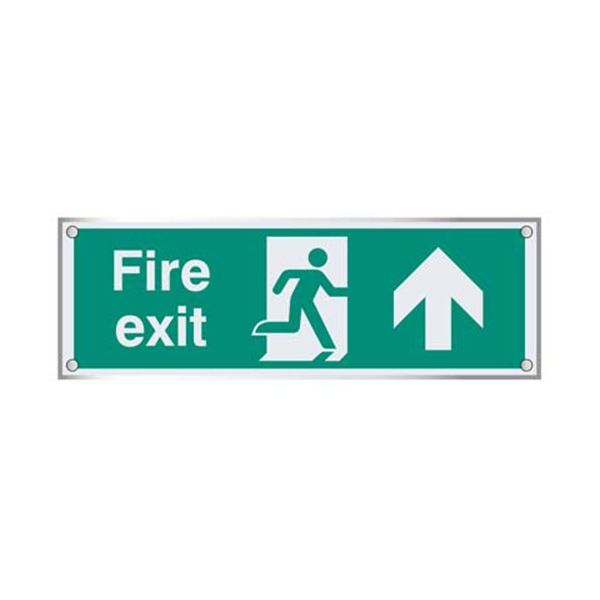 59469 Fire exit straight on visual impact 5mm acrylic sign 450x150mm c/w stand off locators
