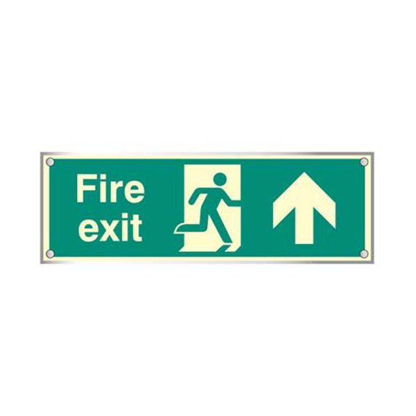 59473 Fire exit straight on visual impact 5mm photolum. acrylic sign 450x150mm c/w stand offs