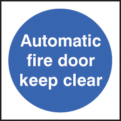 59704 100 S/A labels 100x100mm auto fire door keep clear  (100x100mm) Safety Sign