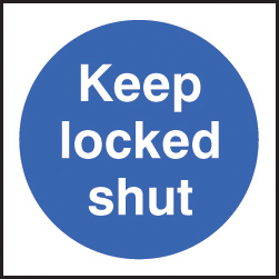 59705 100 S/A labels 100x100mm keep locked shut  (100x100mm) Safety Sign