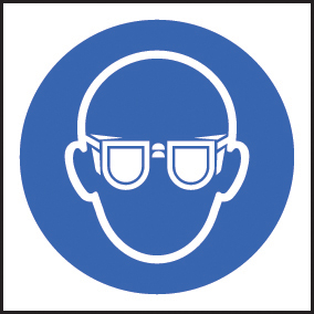 59716 100 S/A labels 50x50mm goggles  (50x50mm) Safety Sign