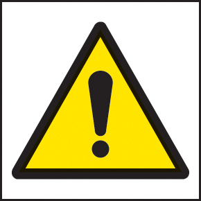 59721 100 S/A labels 50x50mm warning exclamation  (50x50mm) Safety Sign