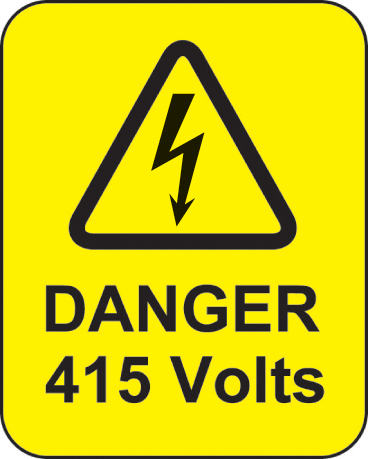 59767 Danger 415 volts roll of 100 labels 40x50mm  (40x50mm) Safety Sign