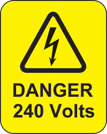 59768 Danger 240 volts roll of 100 labels 40x50mm  (40x50mm) Safety Sign