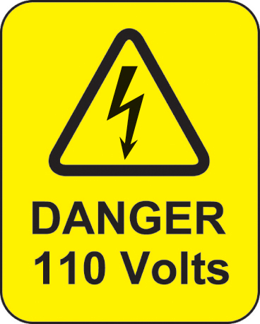 59769 Danger 110 volts roll of 100 labels 40x50mm  (40x50mm) Safety Sign