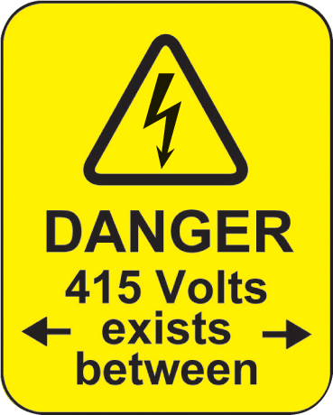 59787 Danger 415 volts <-exists between-> roll of 100 labels 40x50mm  (40x50mm) Safety Sign