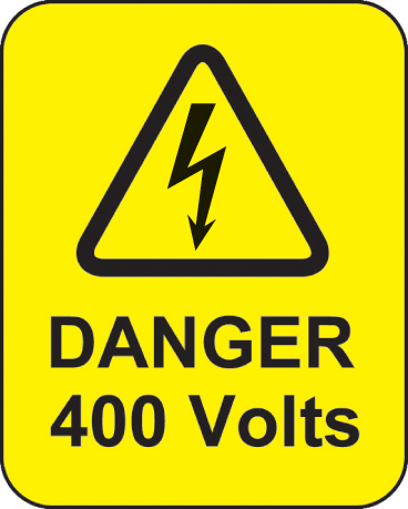 59788 Danger 400 volts roll of 100 labels 40x50mm  (40x50mm) Safety Sign