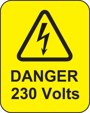 59789 Danger 230 volts roll of 100 labels 40x50mm  (40x50mm) Safety Sign