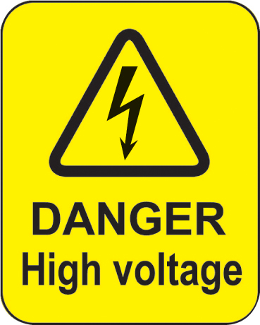 59793 Danger high voltage roll of 100 labels 40x50mm  (40x50mm) Safety Sign
