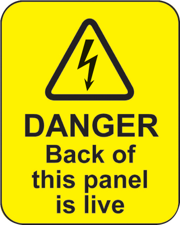 59795 Danger back of this panel is live roll of 100 labels 40x50mm  (40x50mm) Safety Sign