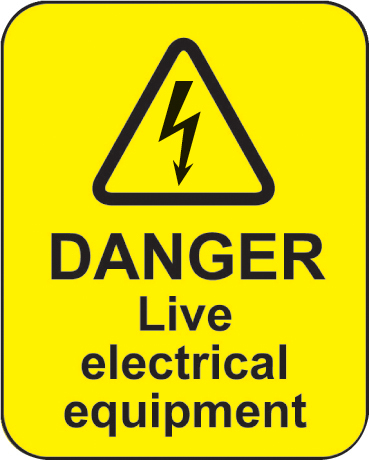 59797 Danger live electrical equipment roll of 100 labels 40x50mm  (40x50mm) Safety Sign