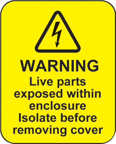 59798 Warning live parts within enclosure roll of 100 labels 40x50mm  (40x50mm) Safety Sign