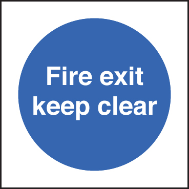 81606B Fire exit keep clear  (80x80mm) Rigid PVC with SAV Backing Safety Sign
