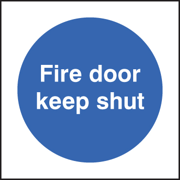 81610B Fire door keep shut  (80x80mm) Rigid PVC with SAV Backing Safety Sign