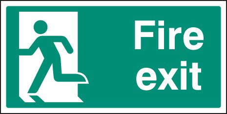 82056V Final fire exit left symbol sign - Quick-Fix with SAV Backing (300x150mm)