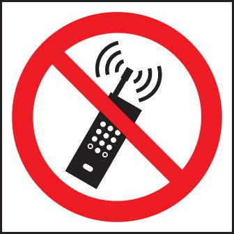 83613F No mobile phones (symbol) sign - Quick-Fix with SAV Backing (200x200mm)