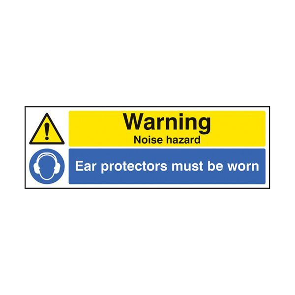 86251G Warning noise hazard ear protection must be worn sign - Quick-Fix  with S/A Back (300x100mm)