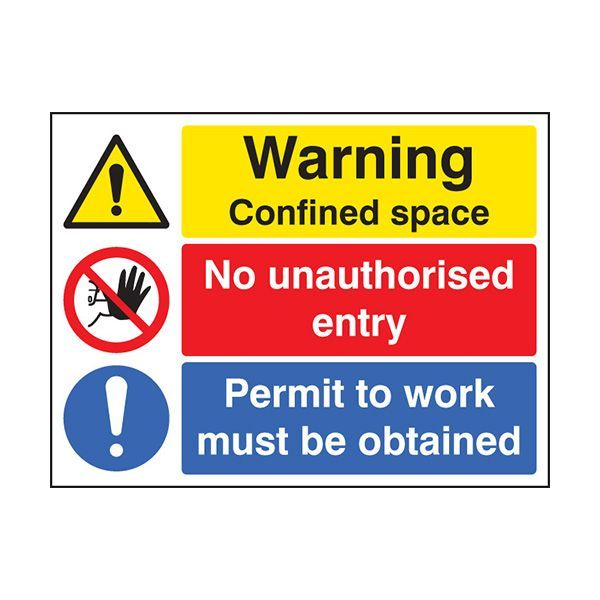 86264K Warning confined space no entry permit to work sign - Quick-Fix with SAV Backing (400x300mm)